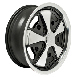 Empi Wheels 911 Alloy - Black w/ Polished Face Rim - 15x4.5