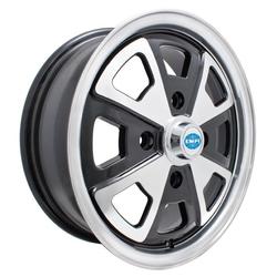 Empi Wheels 914 Alloy - Gloss Black w/Polished Lip and Spokes Rim