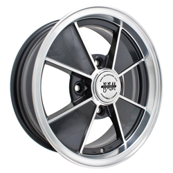 Empi Wheels VW BRM 4-Lug - Gloss Black w/Polished Lip and Spoke Edges Rim - 15x4.5