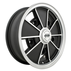 Empi Wheels VW BRM - Matte Black w/Matte Silver Lip and Spoke Edges Rim - 15x5