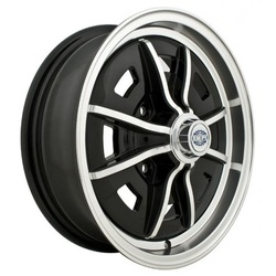 Empi Wheels Sprintstar 4-Lug - Gloss Black w/Polished Lip and Spokes Rim - 15x5