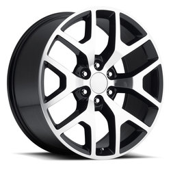 Factory Reproductions Wheels FR 44 GMC Sierra - Black Machined Face Rim - 20x9