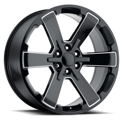 Factory Reproductions Wheels FR 45 GMC SixStar - Black / Milled Rim
