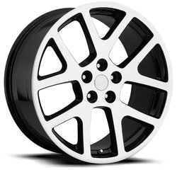 Factory Reproductions Wheels FR 64 Jeep Viper - Black Machine Face Rim - 20x9