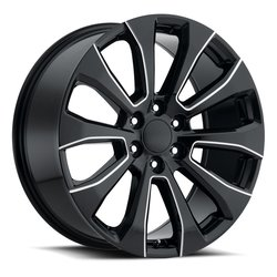 Factory Reproductions Wheels FR92 Silverado Split - Gloss Black Milled Rim - 22x9