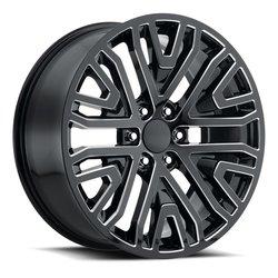 Factory Reproductions Wheels FR93 GMC MeshSplit - Gloss Black Milled Rim - 22x9