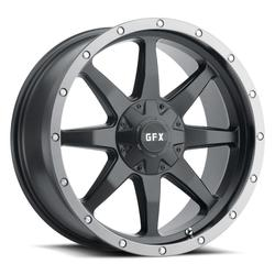 G-FX Wheels TR-14 - Matte Black with Grey Ring Rim - 17x8.5