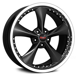 Bravado Wheels Americana II - Matte Black/Gloss Machined Lip Rim - 18x9