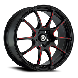 Konig Wheels Illusion - Black/Ball Cut Red