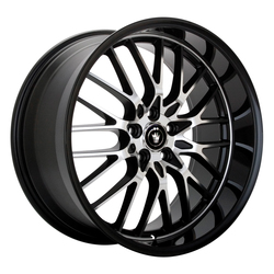 Konig Wheels Lace - Gloss Black w/Machine Face Rim - 15x6.5