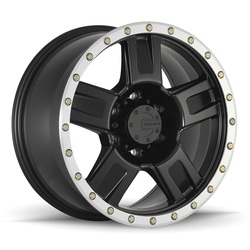 Mamba Wheels M18 - Matte Black w/Machine Bead Lip & Bolts Rim - 18x9