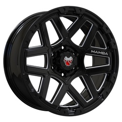 Mamba Wheels M23 - Gloss Black/Machined Ball Cut Rim - 18x9