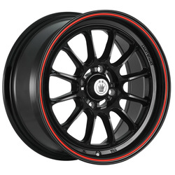Tweak'd - Gloss Black w/Red Stripe - 15x8