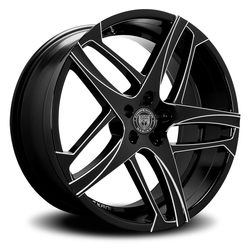 Lexani Wheels Bavaria - Blk w/CNC Groove Rim - 26x10