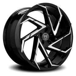 Lexani Wheels Cyclone - Blk w/CNC Groove Rim - 26x10