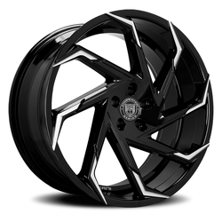 Lexani Wheels Cyclone - Blk w/Machined Tips Rim - 26x10