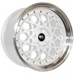 MST Wheels Fiori - White w/Machined Lip Gold Rivets Rim