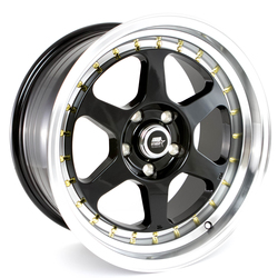 MST Wheels MT35 - Black w/Machined Lip Gold Rivets Rim