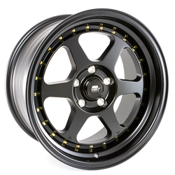 MST Wheels MT35 - Matte Black w/Gold Rivets