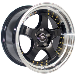 MST Wheels MT07 - Black w/Machined Lip Gold Rivets Rim
