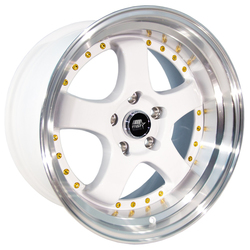 MST Wheels MT07 - White w/Machined Lip Gold Rivets