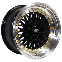 MST Wheels MT13 - Black w/Machined Lip Gold Rivets Rim