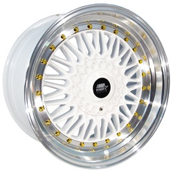 MST Wheels MT13 - White w/Machined Lip Gold Rivets