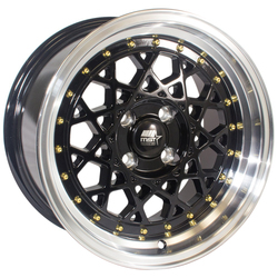 MST Wheels Fiori - Black w/Machined Lip Gold Rivets Rim