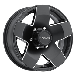 Raceline Wheels 855 Maxum Trailer - Black with Machine - 14x5.5