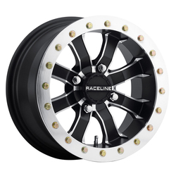 Raceline Wheels A71 Mamba Beadlock - Black with Machined Face Rim - 14x7