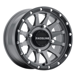 Raceline Wheels A95SG Trophy - Stealth Grey Simulated Beadlock Rim - 14x7