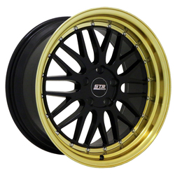 STR Racing Wheels STR 601 - Gloss Black With Gold Lip Rim
