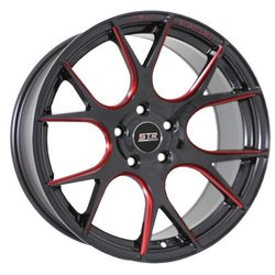 STR Racing Wheels STR 905 - Gloss Black Milled Red Rim