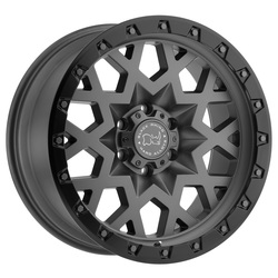 Black Rhino Wheels Sprocket - Matte Gunmetal with Black Lip Edge