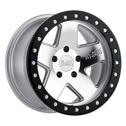 Black Rhino Wheels Crawler Beadlock - Silver, Mirror Face & Black Lip Ring