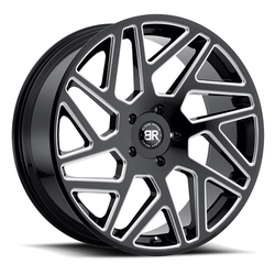 Black Rhino Wheels Cyclone - Gloss Black with Milled Spokes Rim - 24x10