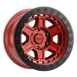 Black Rhino Wheels Reno Beadlock - Red W/ Black Ring & Black Bolts Rim - 17x8.5