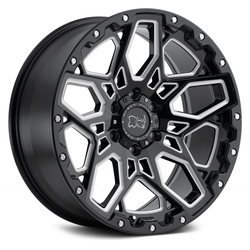 Black Rhino Shrapnel - Gloss Black with Milled Spokes
