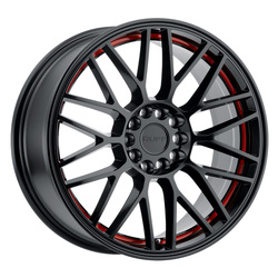 Ruff Wheels Overdrive - Matte Black with Red Inner Lip Rim