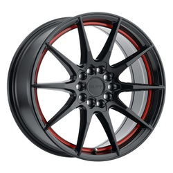 Ruff Wheels Speedster - Gloss Black with Red Stripe Rim