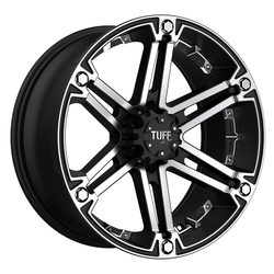 Tuff Wheels T01 - Flat Black with Machined Face & Chrome Inserts Rim