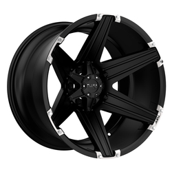 Tuff Wheels T12 - Satin Black with Brushed Inserts - 24x11