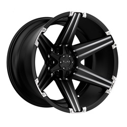 Tuff Wheels T12 - Satin Black with Milled Spokes and Brushed Inserts - 24x11