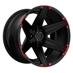 Tuff Wheels T12 - Satin Black with Red Inserts Rim - 26x12