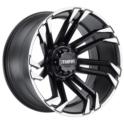 Tuff Wheels T21 - Matte Black with Machined Flange - 24x11