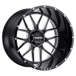 Tuff Wheels T23 - Gloss Black with Milled Spokes & Dimples - 22x14