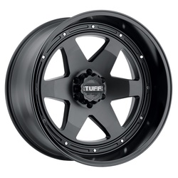 Tuff Wheels T1A - Matte Black with Gloss Black Lip - 24x12