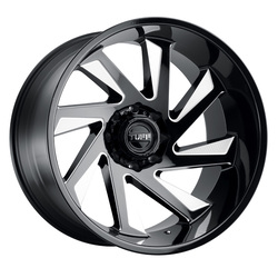 Tuff Wheels T1B - Gloss Black W/Milled Spoke Rim