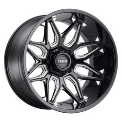 Tuff Wheels T3B - Gloss Black W/Milled Spoke Rim - 24x14