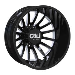 Cali Off-Road Wheels Summit Dually 9110D Rear - Gloss Black Milled Spokes Rim - 22x8.25